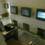 Cabin of Airplane with Large Monitors